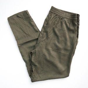 NEW H&M Drapey Jogger Pants Olive Green